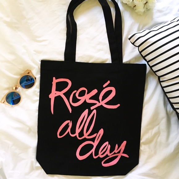Rose All Day Black Canvas Tote